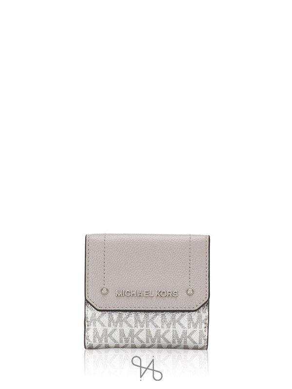 MICHAEL KORS Hayes Signature Medium Trifold Coin Case Silver