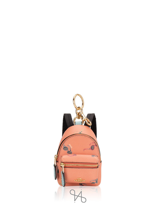 COACH 73476 Sunglasses Print Mini Backpack Coin Case Light Coral Multi
