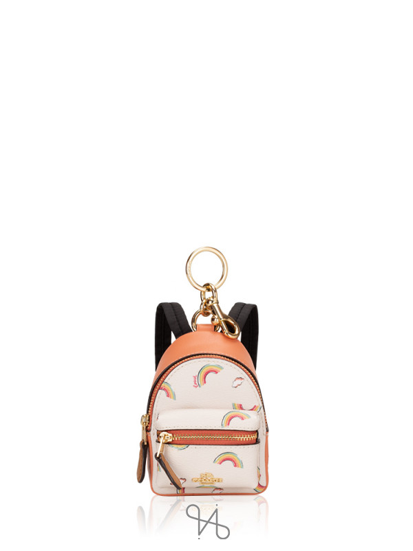 COACH 73143 Rainbow Mini Backpack Coin Case Chalk Light Coral