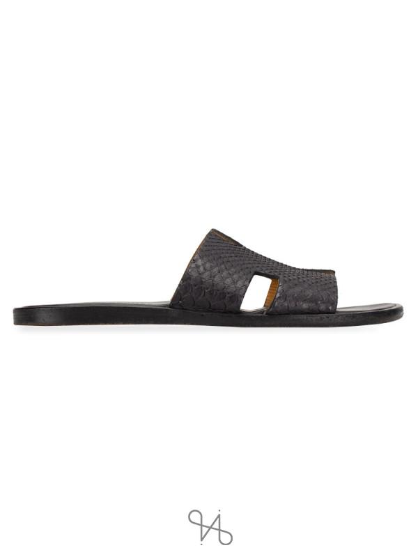 HERMES Izmir Python Leather Sandals Black Sz 40