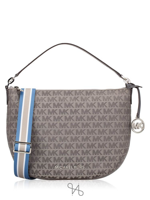 MICHAEL KORS Bedford Signature Medium Crescent Shoulder Bag Heather Grey