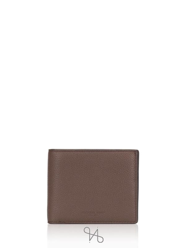 MICHAEL KORS Men Russel Leather Billfold With Passcase Wallet Mocha