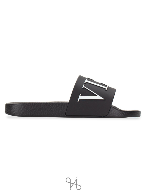 VALENTINO Men Logo Slide Sandal Black Sz 41