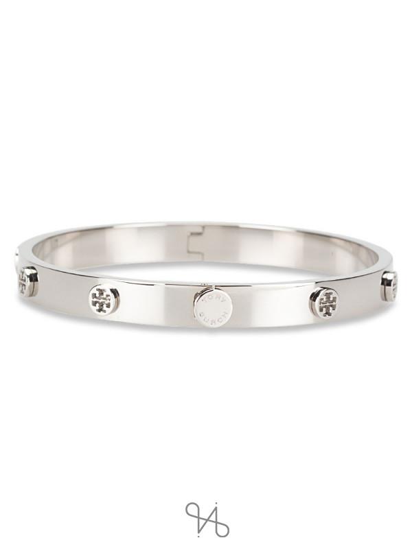 TORY BURCH Logo Stud Hinge Large Bracelet Silver
