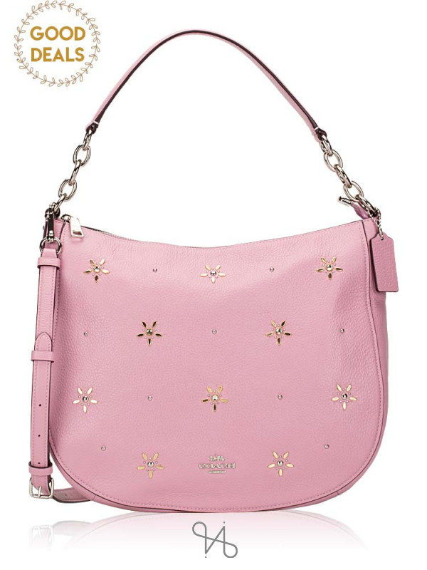 COACH 73208 Leather Stud Elle Hobo Tulip