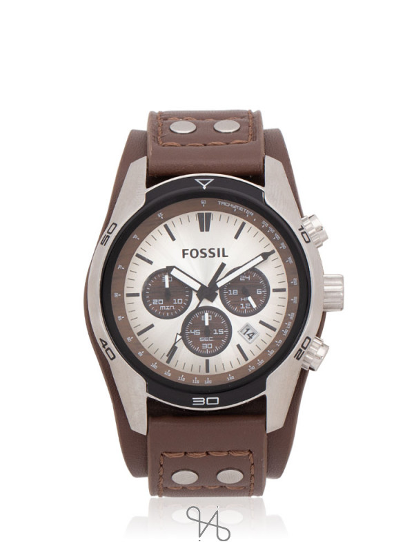 FOSSIL Men CH2565 Chronograph Leather Strap Brown