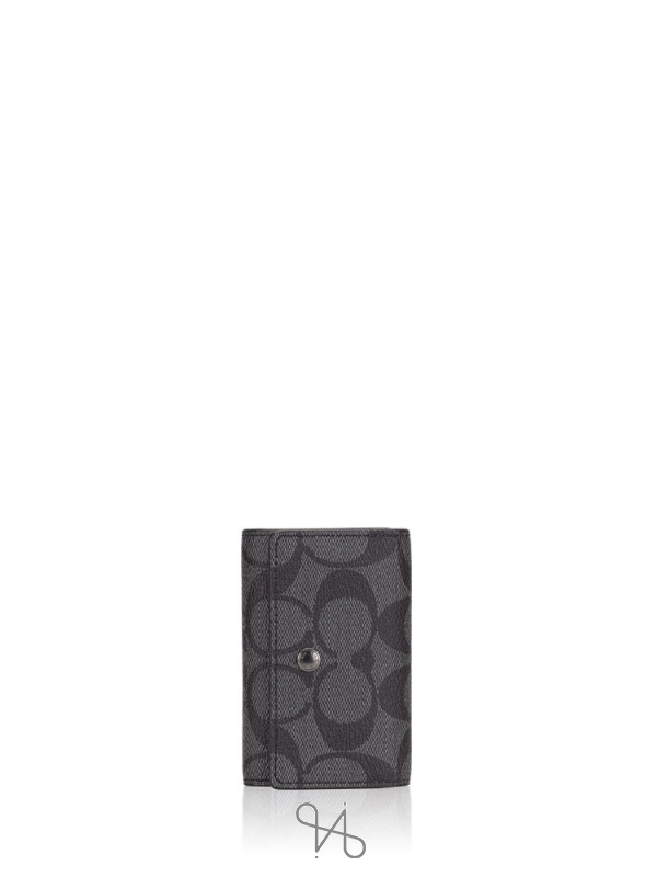 COACH 78675 Signature 5 Ring Key Holder Charcoal Black
