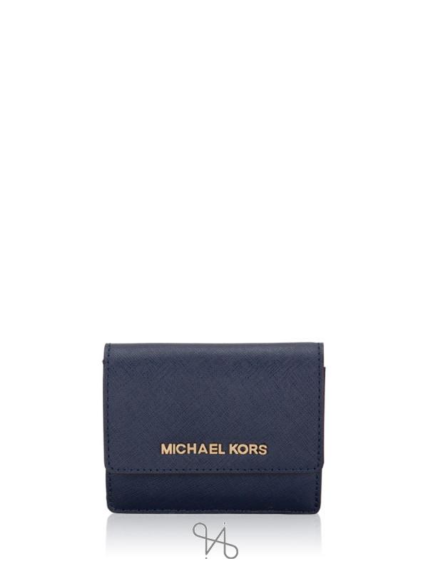MICHAEL KORS Jet Set Travel Card Case Id Key Holder Navy