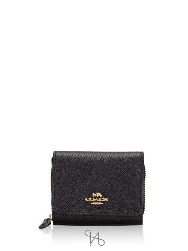COACH 37968 Crossgrain Small Trifold Wallet Black