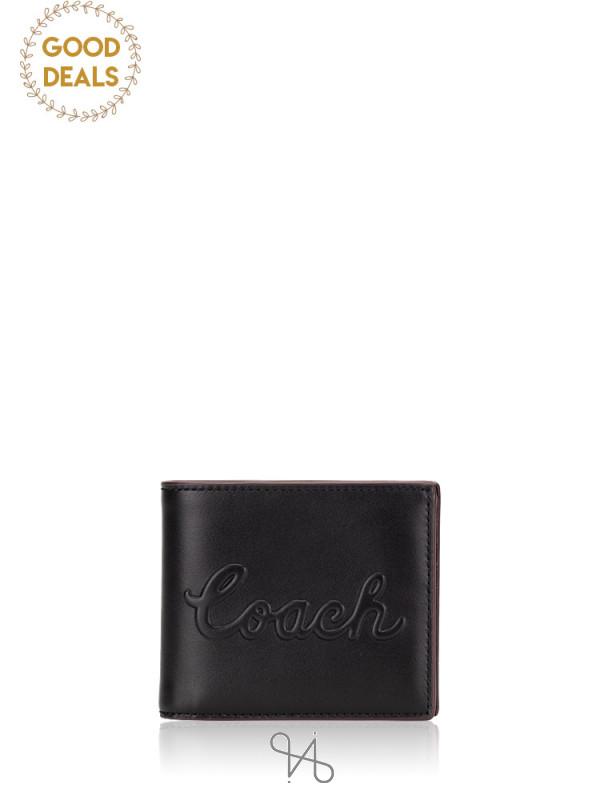 COACH Men 76875 Debbosed Leather 3 in 1 Billfold Wallet Black