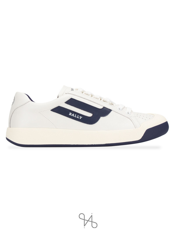 BALLY Men New Competition Sneakers White Blue Sz 41