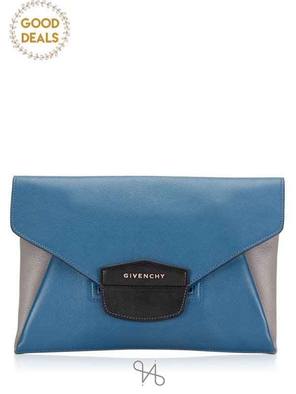 GIVENCHY Antigona Envelope Clutch Blue Grey