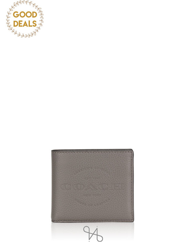 COACH Men 24647 Double Billfold Wallet Heather Grey