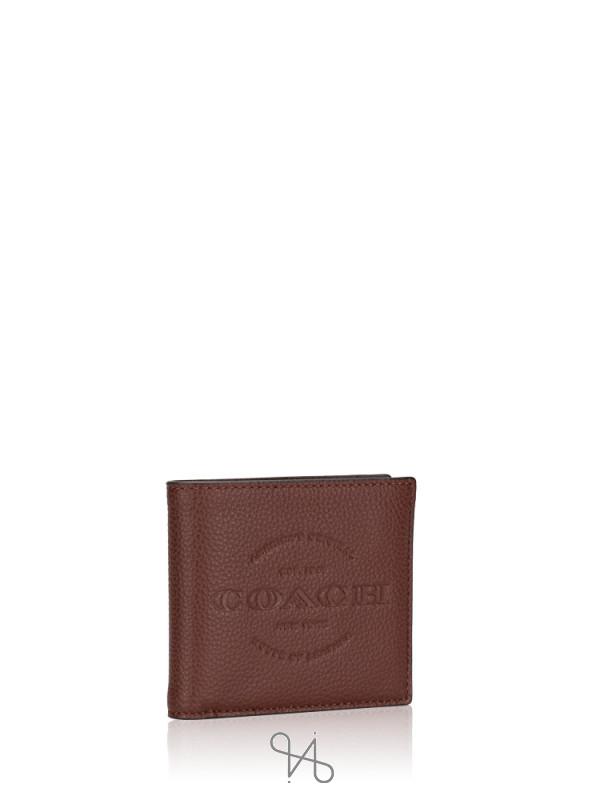 COACH Men 24647 Double Billfold Wallet Dark Brown