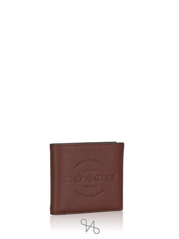 COACH Men 24647 Double Billfold Wallet Dark Brown