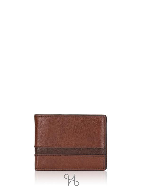 FOSSIL Men SML1435914 Easton Traveler Wallet Brown Multi