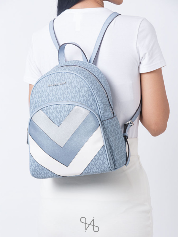 MICHAEL KORS Abbey Monogram Chevron Medium Backpack Pale Blue Silver