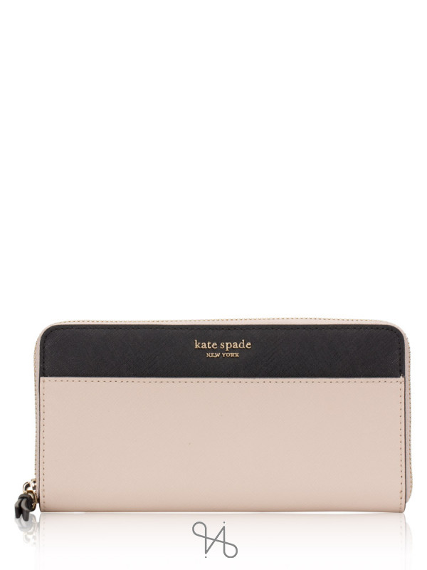 KATE SPADE Cameron Large Continental Wallet Warm Beige Black