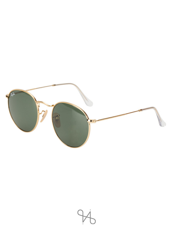 RAY-BAN RB3447 Round Metal Gold Green