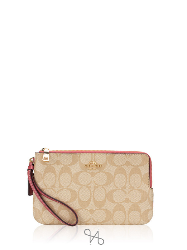 COACH 16109 Signature Double Zip Wallet Light Khaki Rouge