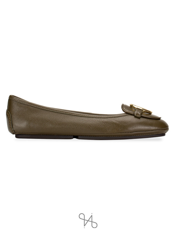 MICHAEL KORS Lillie Leather Flats Olive Sz 5