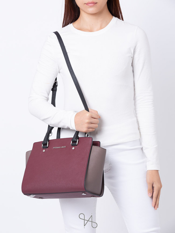 MICHAEL KORS Selma Medium Leather Satchel Merlot Cinder Black