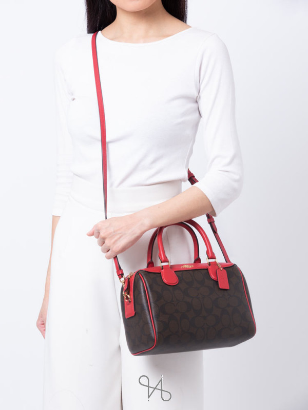 COACH 32203 Signature Mini Bennett Satchel Brown True Red