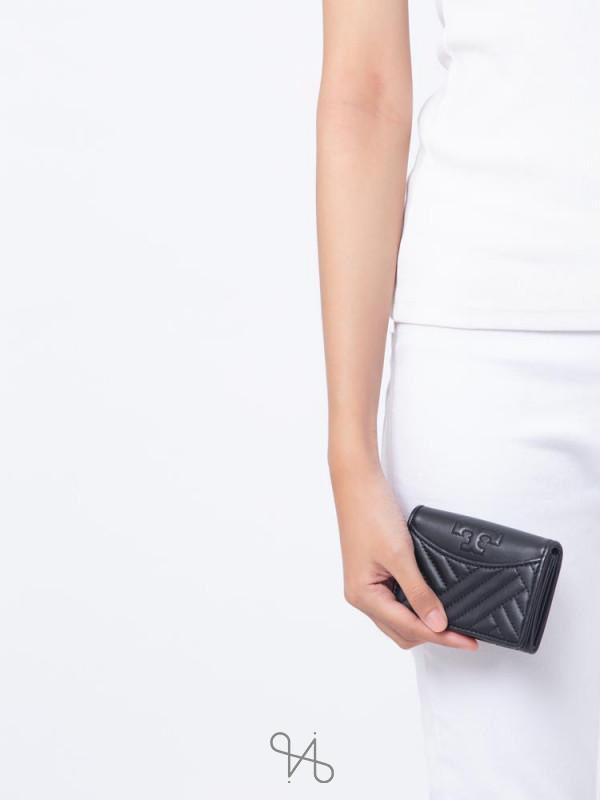 TORY BURCH Alexa Leather Foldable Mini Wallet Black