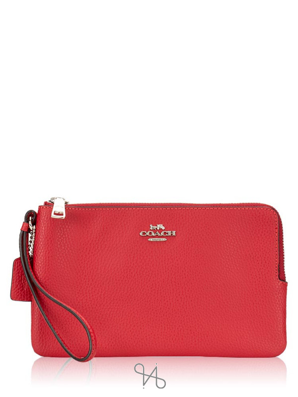 COACH 87587 Pebble Leather Double Zippy Wallet Bright Cardinal