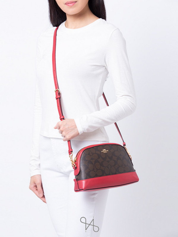 COACH 76674 Signature Mini Dome Crossbody Brown True Red