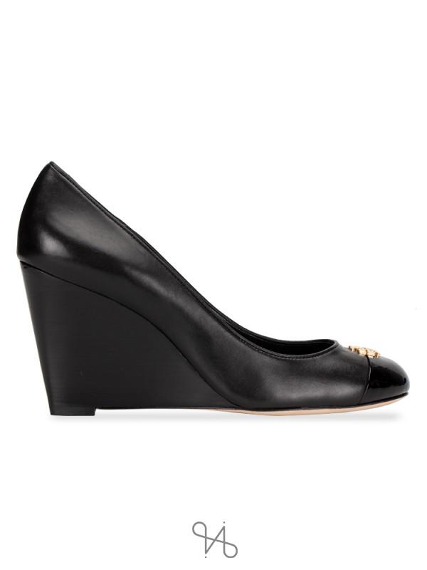 TORY BURCH Jolie Leather Wedges Black Sz 10