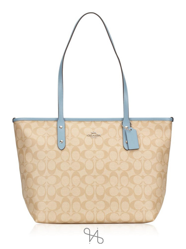 COACH 58292 Signature City Zip Tote Light Khaki Cornflower