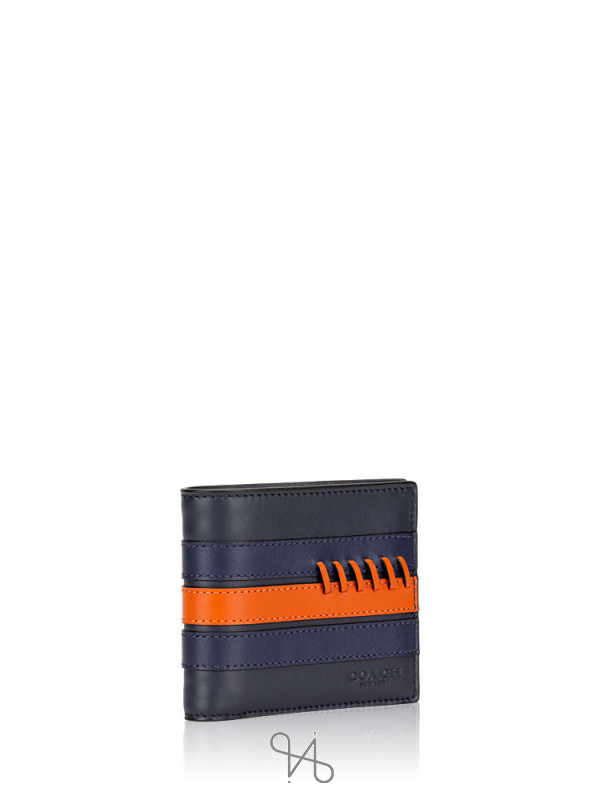 COACH Men 76947 3 N 1 Sporty Baseball Stitch Wallet Midnight Navy Orange