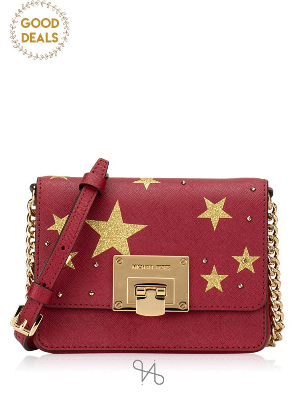 MICHAEL KORS Tina Small Clutch Illustrations Cherry