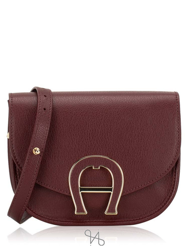 AIGNER Pina Mini Leather Crossbody Bag Burgundy