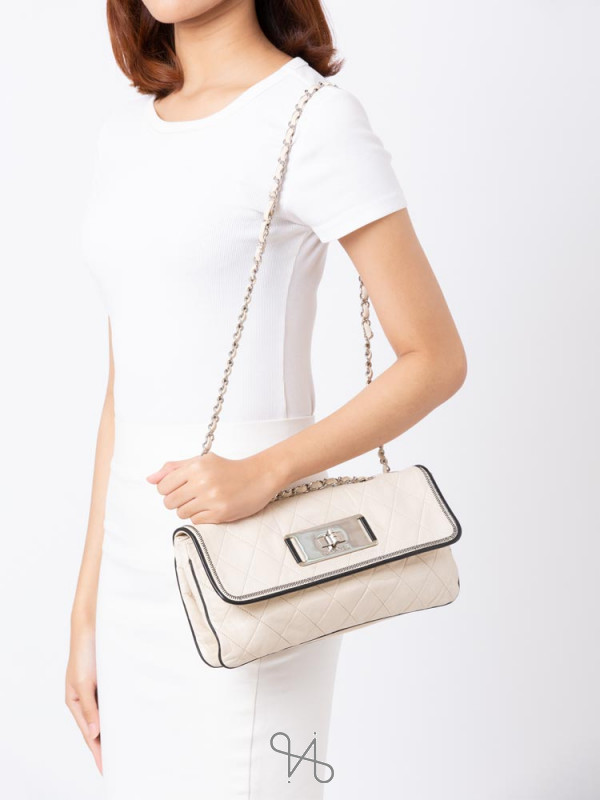 CHANEL Lambskin East West Accordion Small Flap Bag White