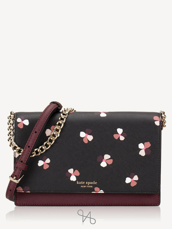KATE SPADE Cameron Dusk Buds Ditsy Convertible Crossbody Black Multi