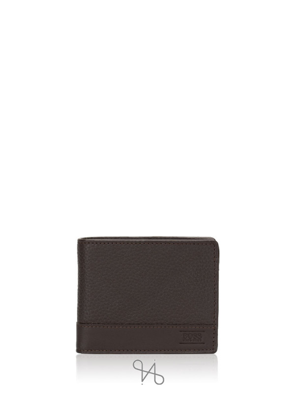 HUGO BOSS Men Aspen Leather Trifold Wallet Brown