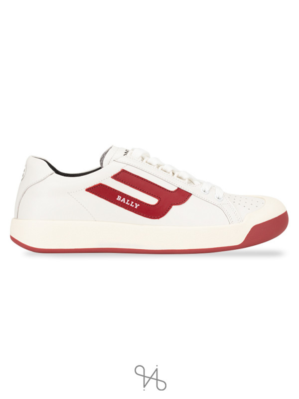 BALLY Men New Competition Sneakers White Red Sz 41