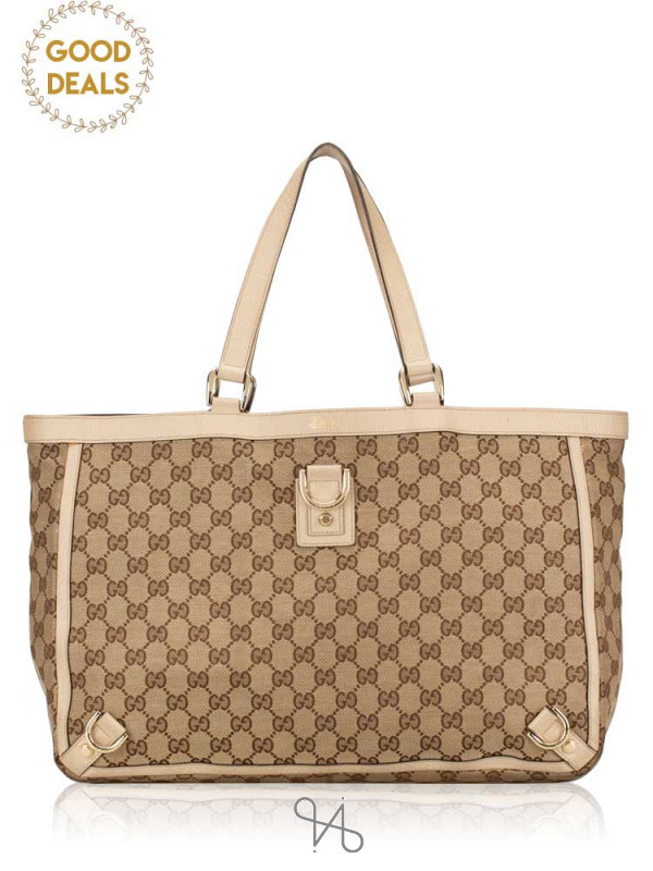 GUCCI Canvas Abbey Large Tote Beige White