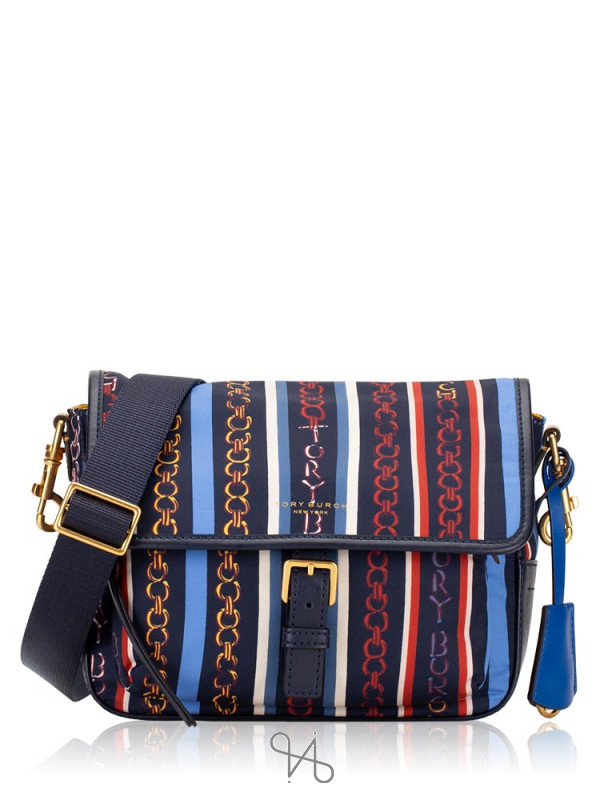 TORY BURCH Perry Nylon Printed Crossbody Gemini Multi Stripe