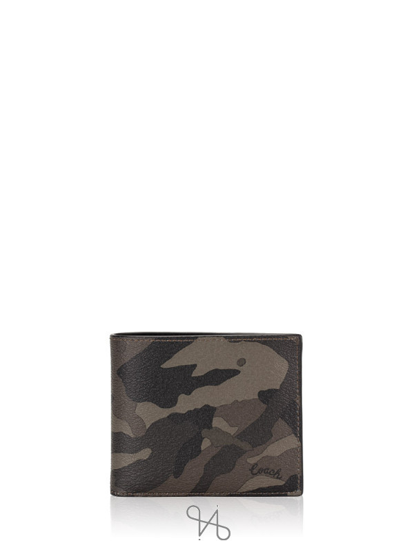 COACH Men 76851 3 In 1 Ink Camo Compact ID Wallet Green Black