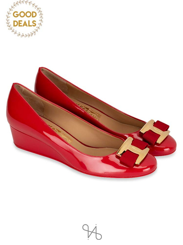 SALVATORE FERRAGAMO Ninna Patent Leather Wedges Rosso Sz 8.5