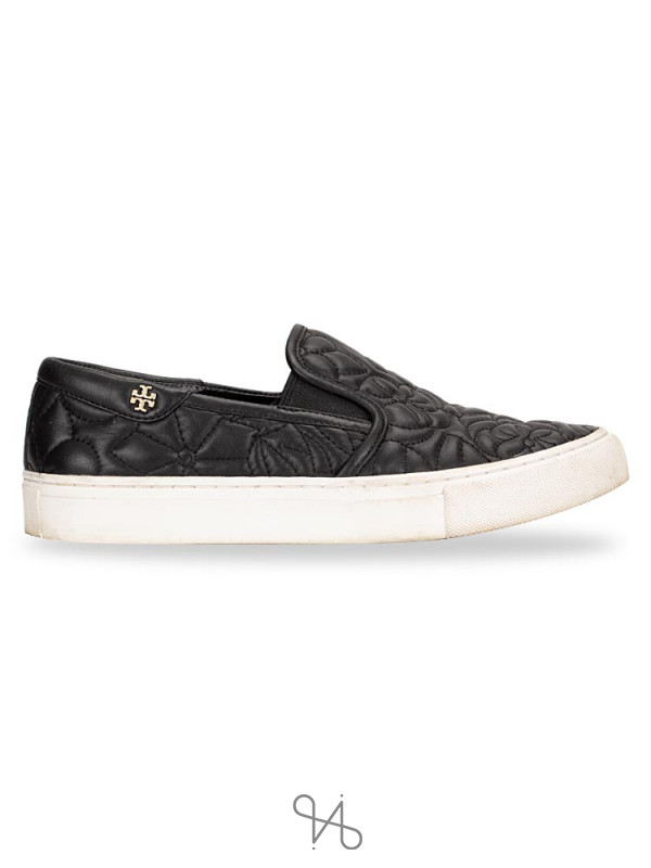 TORY BURCH Sela Leather Slip On Sneakers Black Sz 6