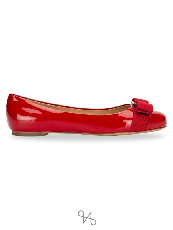 SALVATORE FERRAGAMO Varina Patent Leather Flats Rosso Sz 4.5