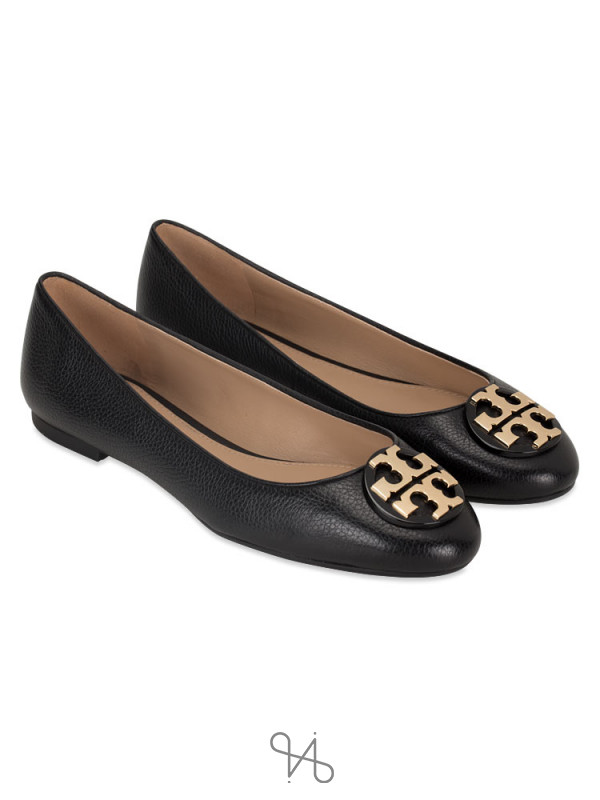 TORY BURCH Claire Tumbled Leather Flat Black Sz 7.5