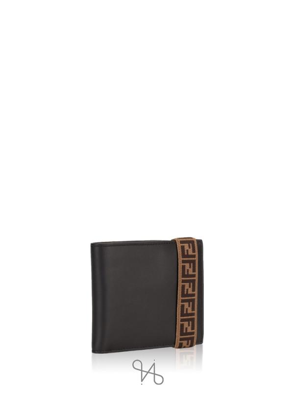 FENDI Men FF Logo Elastic Band Leather Wallet Black Yellow