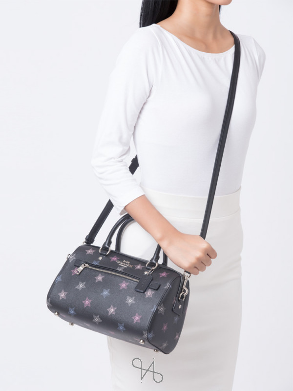 COACH 84722 Rowan Dot Star Print Satchel Black Multi