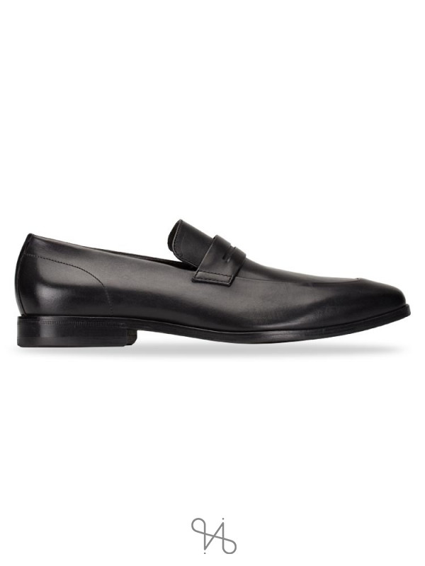 HUGO BOSS Men Highline Leather Loafers Black Sz 9.5