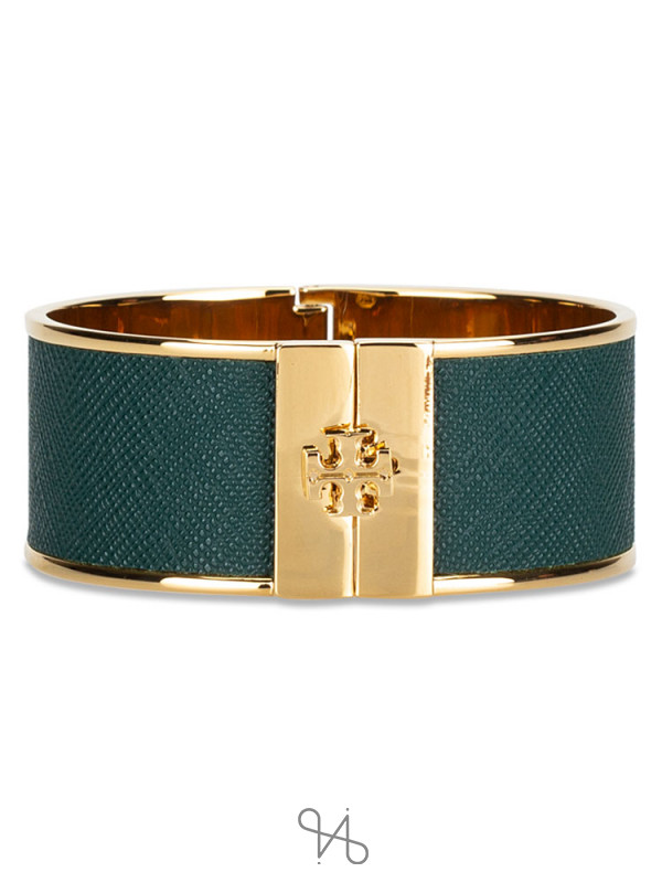 TORY BURCH Skinny Leather Inlay Cuff Green Gold